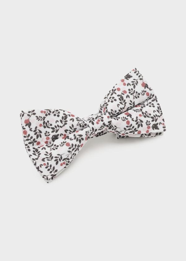 Noeud-papillon en coton blanc à motif fleuri rose clair et gris - Father and Sons 6558