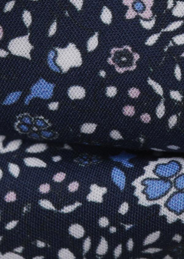 Noeud-papillon en coton bleu indigo à motif fleuri bleu clair et rose clair - Father and Sons 6535