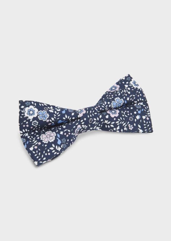 Noeud-papillon en coton bleu indigo à motif fleuri bleu clair et rose clair - Father and Sons 6534
