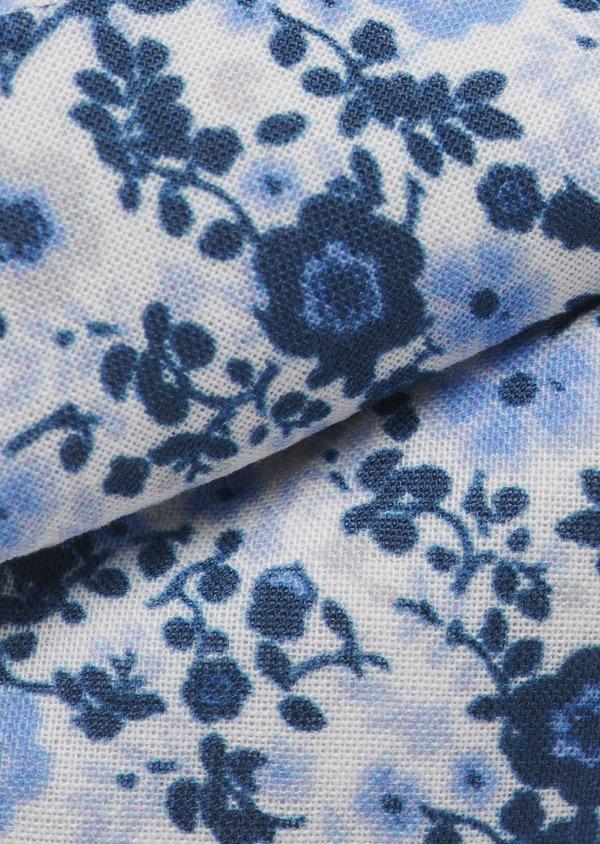 Noeud-papillon en coton blanc à motif fleuri bleu indigo et bleu clair - Father and Sons 6543