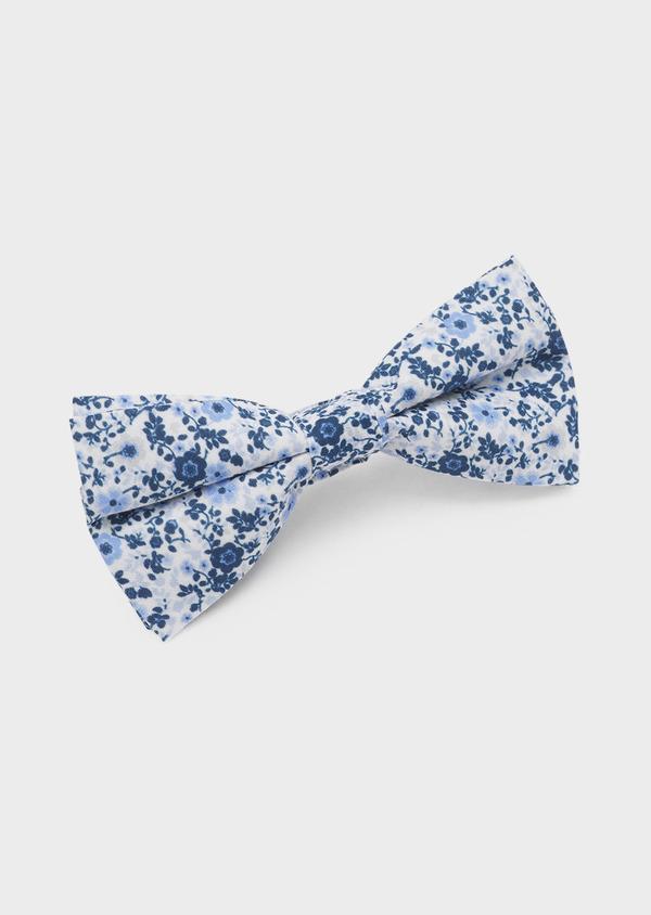 Noeud-papillon en coton blanc à motif fleuri bleu indigo et bleu clair - Father and Sons 6542