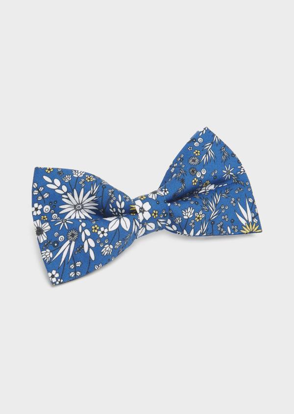 Noeud-papillon en coton bleu à motif fleuri blanc et jaune - Father and Sons 6550
