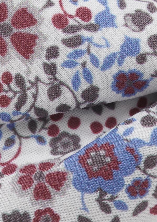 Noeud-papillon en coton blanc à motif fleuri rose foncé et bleu clair - Father and Sons 6555