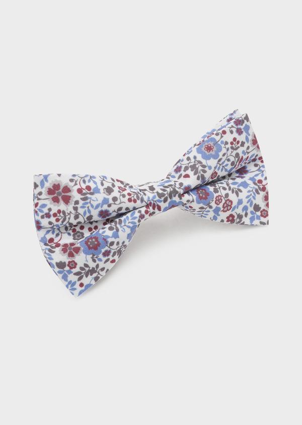 Noeud-papillon en coton blanc à motif fleuri rose foncé et bleu clair - Father and Sons 6554