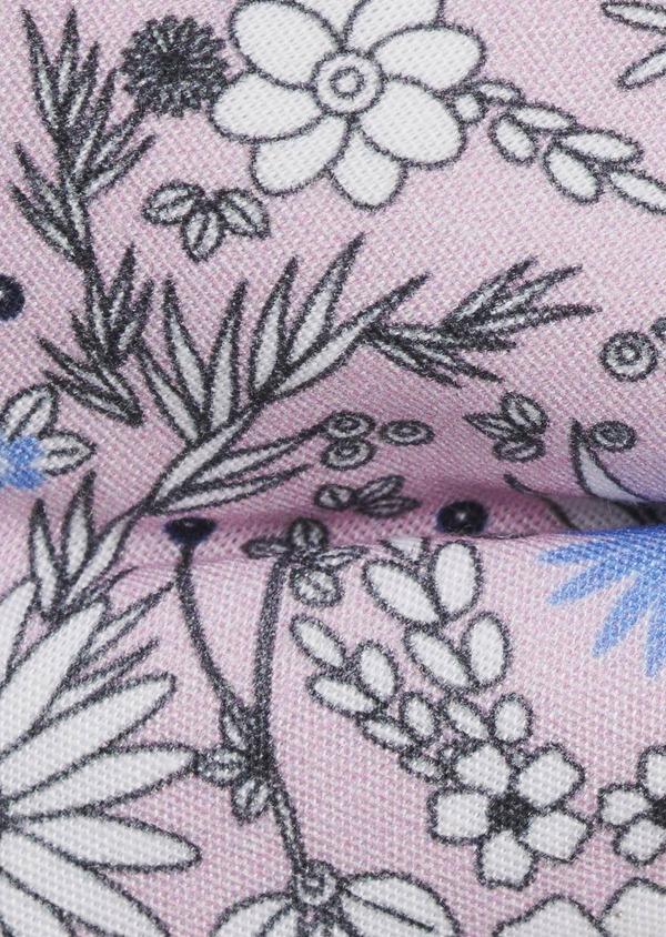 Noeud-papillon en coton rose clair à motif fleuri blanc et bleu clair - Father and Sons 6539