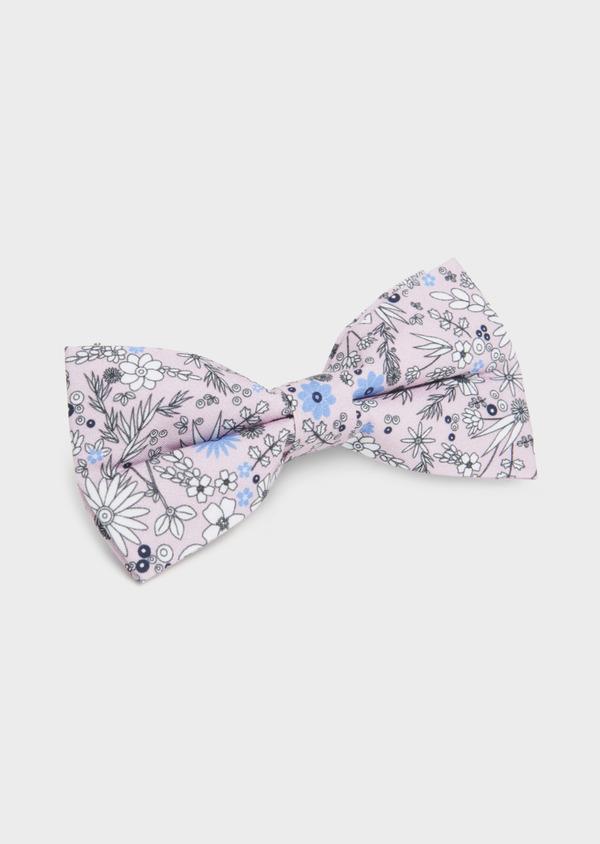 Noeud-papillon en coton rose clair à motif fleuri blanc et bleu clair - Father and Sons 6538