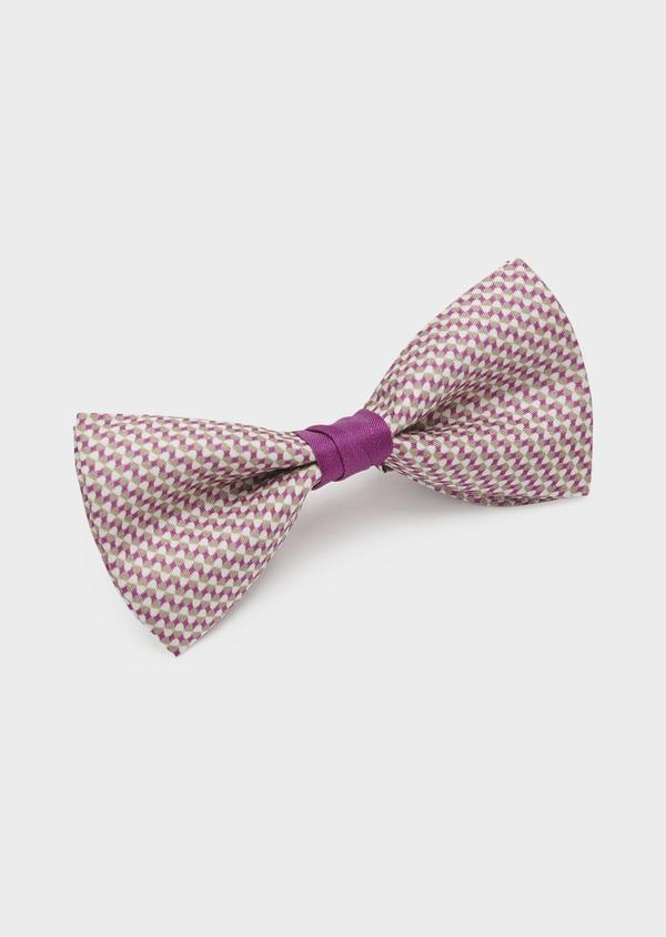 Noeud-papillon en soie à motifs géométriques rose foncé - Father and Sons 6522