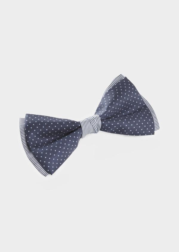 Noeud-papillon en soie à pois et rayures bleu indigo - Father and Sons 6526