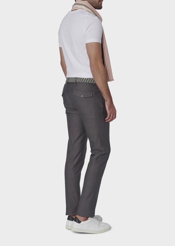 Pantalon coordonnable skinny en coton stretch uni gris clair - Father and Sons 6577