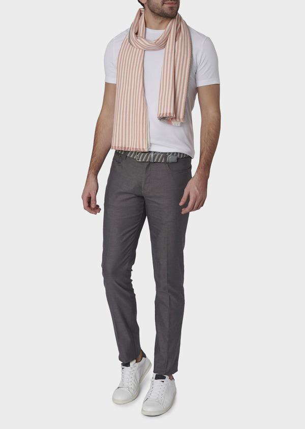 Pantalon coordonnable skinny en coton stretch uni gris clair - Father and Sons 6576