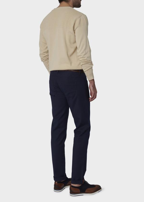 Chino slack skinny en coton stretch bleu indigo à pois - Father and Sons 6565