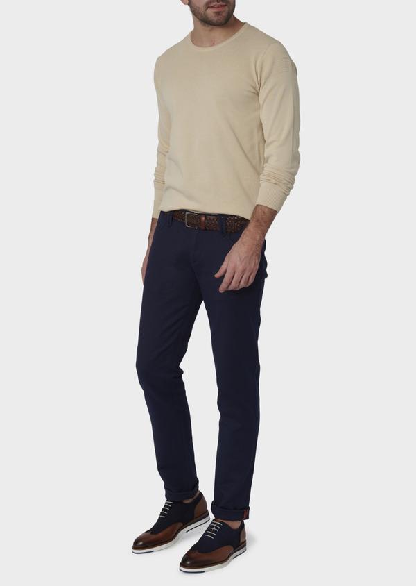 Chino slack skinny en coton stretch bleu indigo à pois - Father and Sons 6564