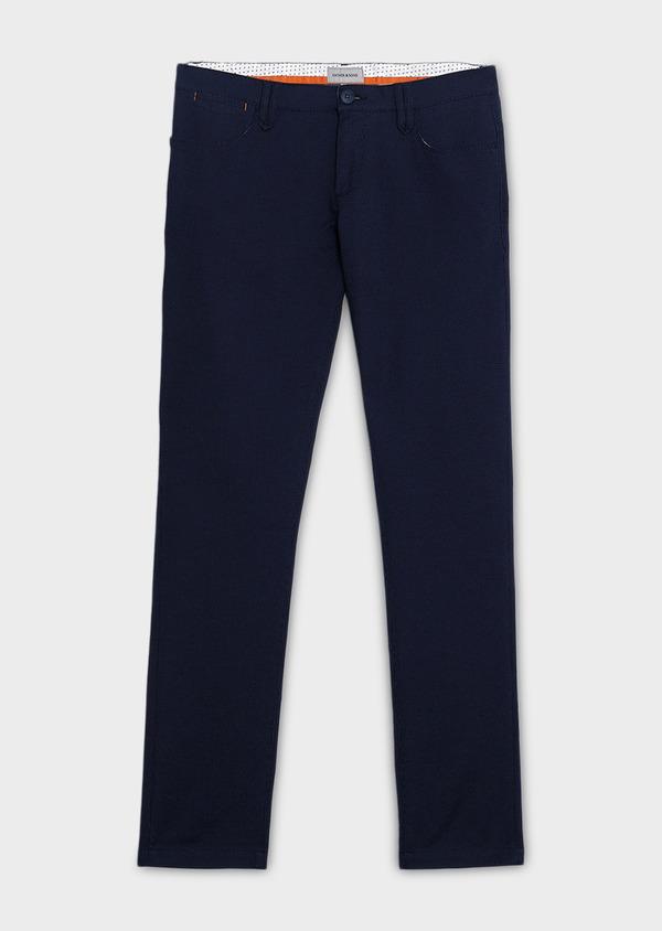 Chino slack skinny en coton stretch bleu indigo à pois - Father and Sons 6562