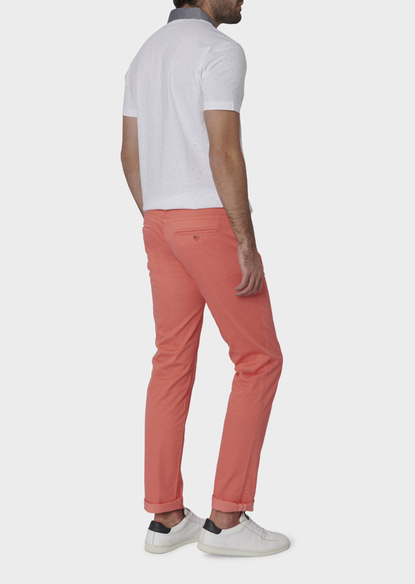 Chino slack skinny en coton stretch uni corail - Father and Sons 6595