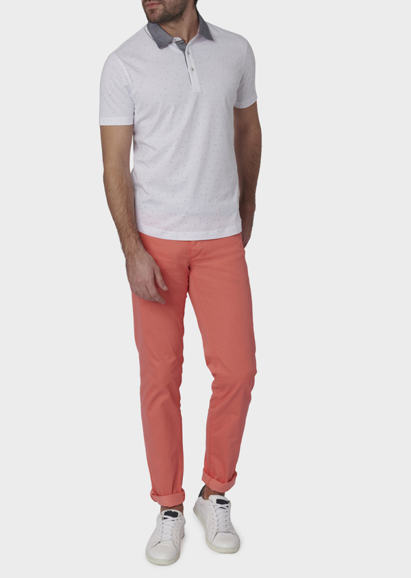 Chino slack skinny en coton stretch uni corail - Father and Sons 6594