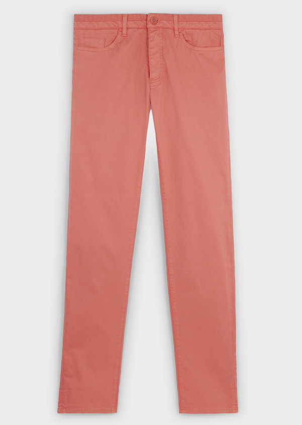 Chino slack skinny en coton stretch uni corail - Father and Sons 6592