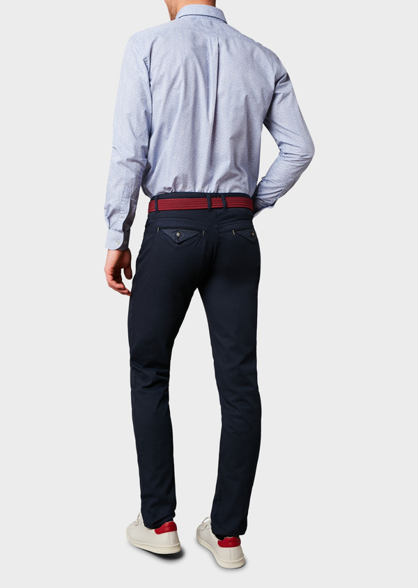 Chino slack super skinny en coton stretch texturé bleu marine - Father and Sons 6601