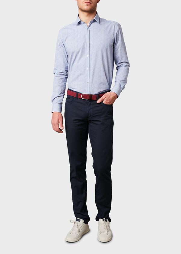 Chino slack super skinny en coton stretch texturé bleu marine - Father and Sons 6600