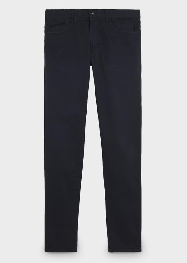 Chino slack super skinny en coton stretch texturé bleu marine - Father and Sons 6598
