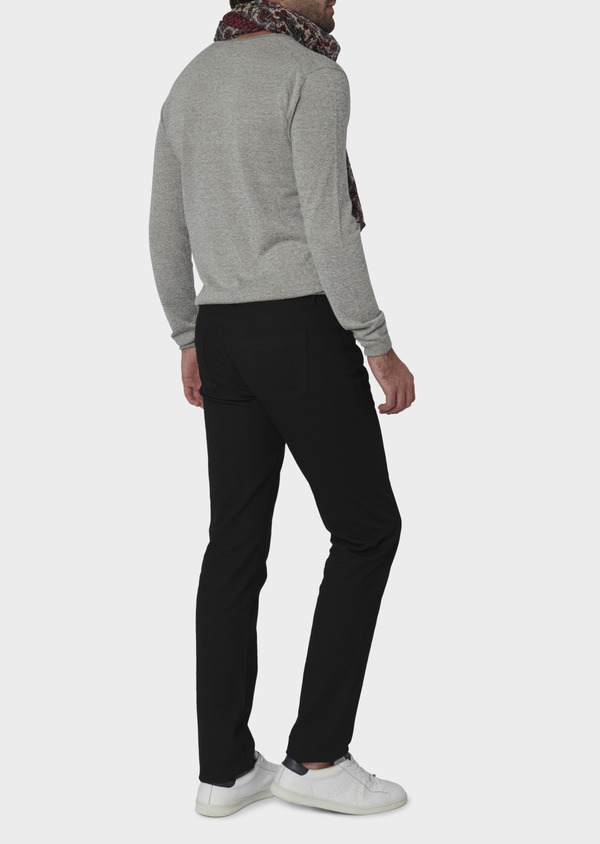 Chino slack skinny en coton stretch uni noir - Father and Sons 6571