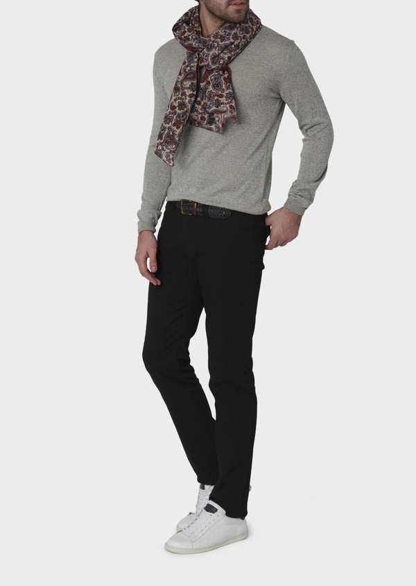 Chino slack skinny en coton stretch uni noir - Father and Sons 6570