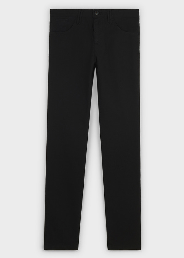 Chino slack skinny en coton stretch uni noir - Father and Sons 6568