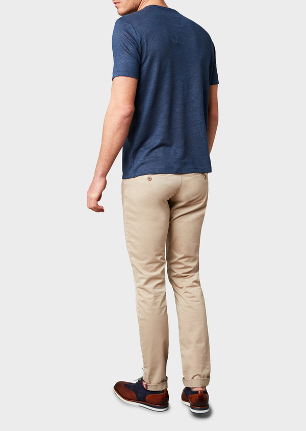 Chino slack skinny en coton stretch uni beige - Father and Sons 8144