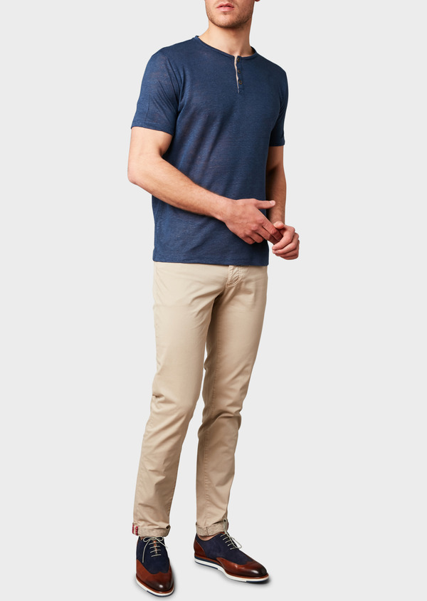 Chino slack skinny en coton stretch uni beige - Father and Sons 8143
