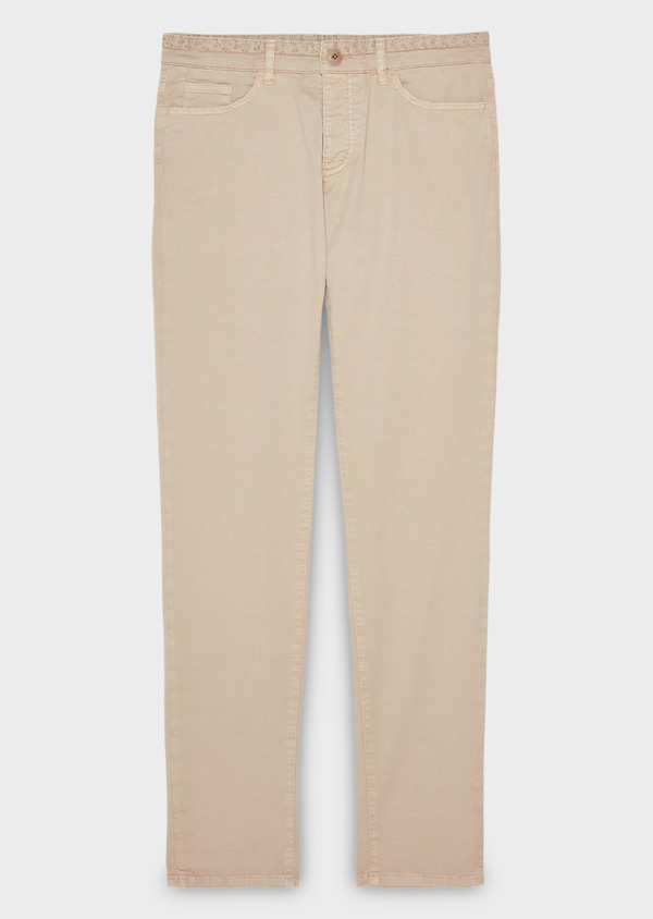 Chino slack skinny en coton stretch uni beige - Father and Sons 8141