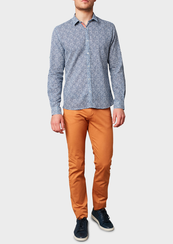 Chino slack skinny en coton stretch uni camel - Father and Sons 6588