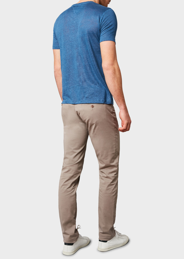 Chino slack super skinny en coton stretch uni marron clair - Father and Sons 6607