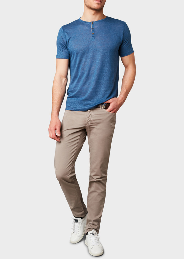 Chino slack super skinny en coton stretch uni marron clair - Father and Sons 6606