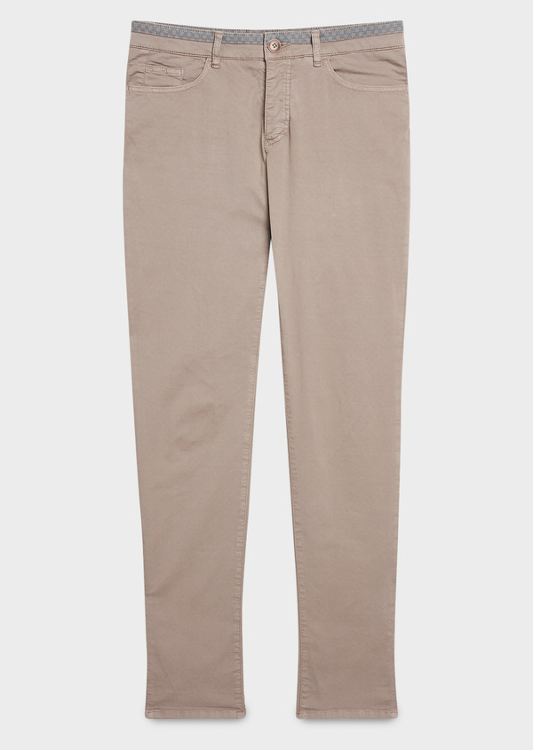 Chino slack super skinny en coton stretch uni marron clair - Father and Sons 6604