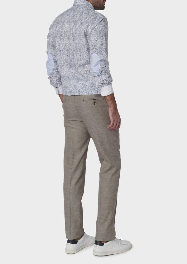 Pantalon coordonnable regular en lin mélangé marron - Father and Sons 6619