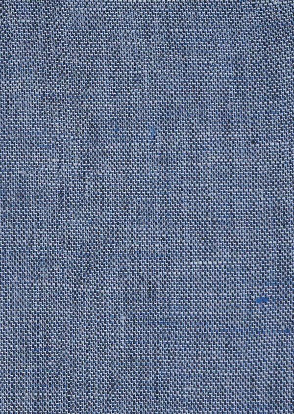 Pantalon coordonnable regular en lin uni bleu - Father and Sons 6611