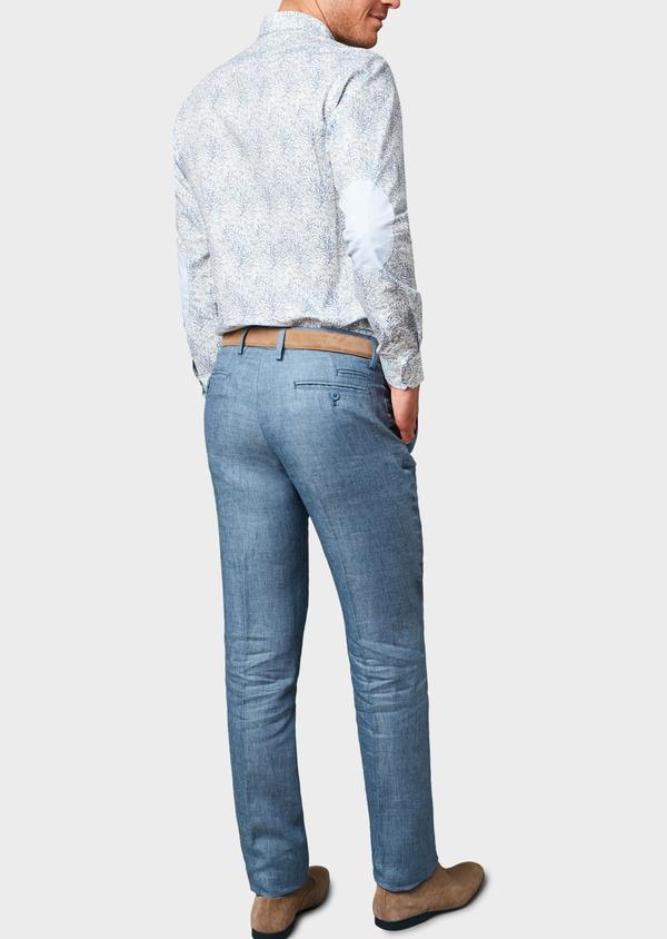 Pantalon coordonnable regular en lin uni bleu - Father and Sons 6613