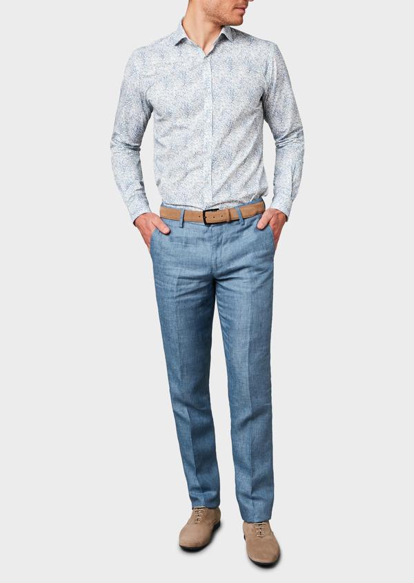 Pantalon coordonnable regular en lin uni bleu - Father and Sons 6612