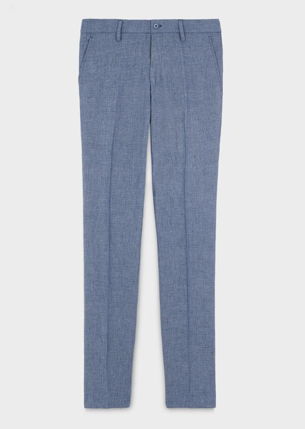 Pantalon coordonnable regular en lin uni bleu - Father and Sons 6610