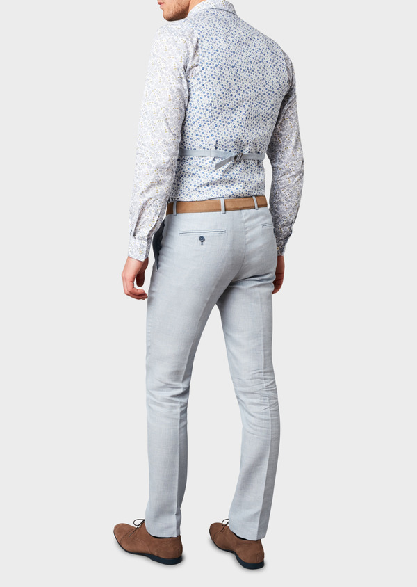 Pantalon coordonnable skinny en lin mélangé bleu ciel - Father and Sons 6625