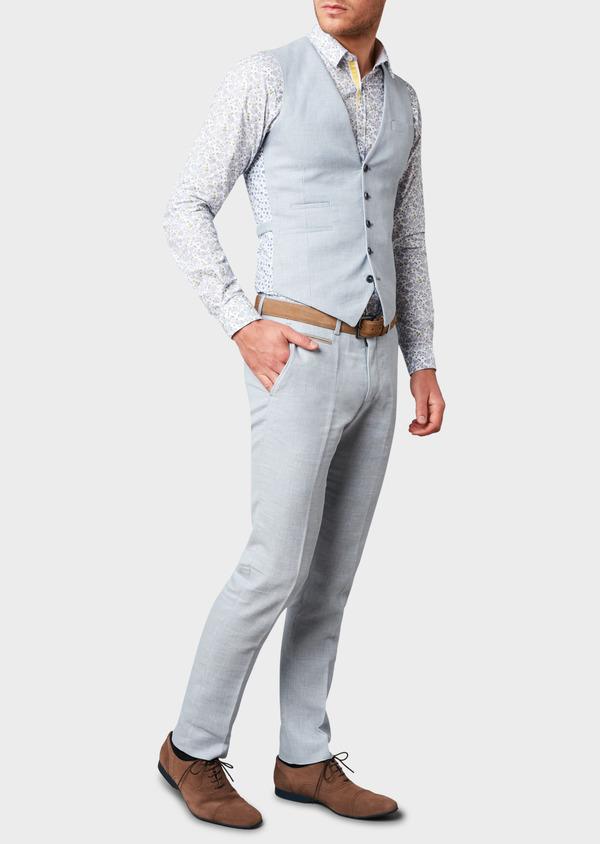 Pantalon coordonnable skinny en lin mélangé bleu ciel - Father and Sons 6624