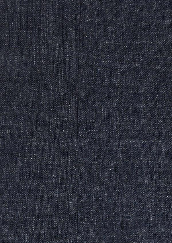 Pantalon ccoordonnable skinny en lin mélangé bleu marine - Father and Sons 6629