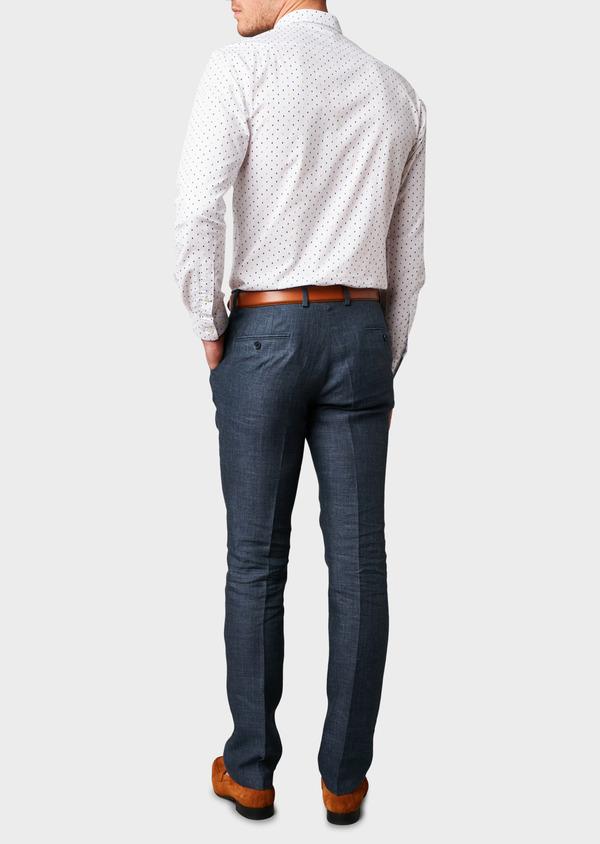 Pantalon ccoordonnable skinny en lin mélangé bleu marine - Father and Sons 6631
