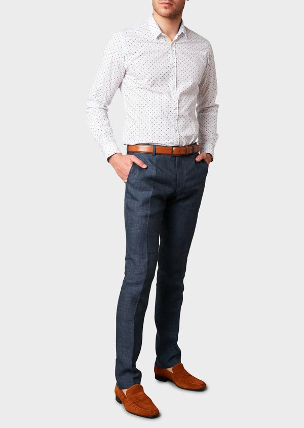 Pantalon ccoordonnable skinny en lin mélangé bleu marine - Father and Sons 6630