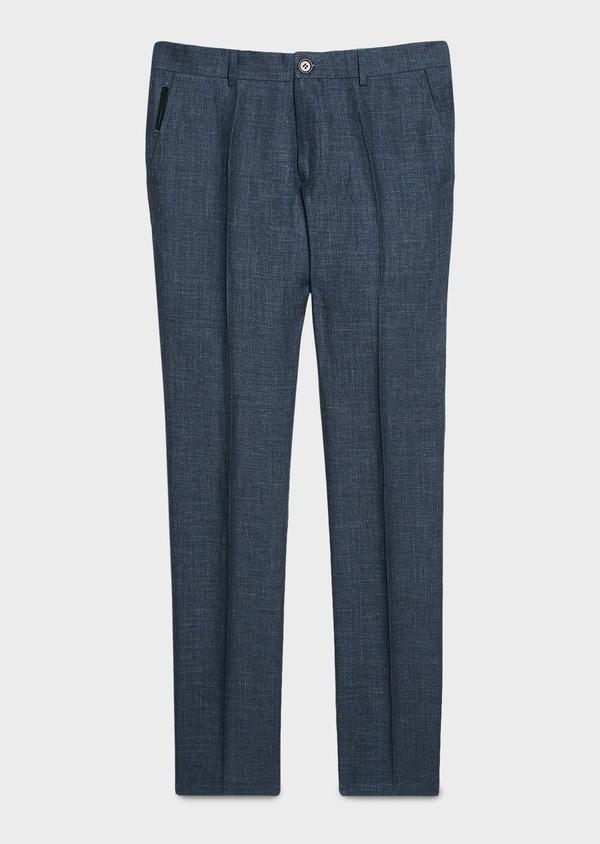 Pantalon ccoordonnable skinny en lin mélangé bleu marine - Father and Sons 6628