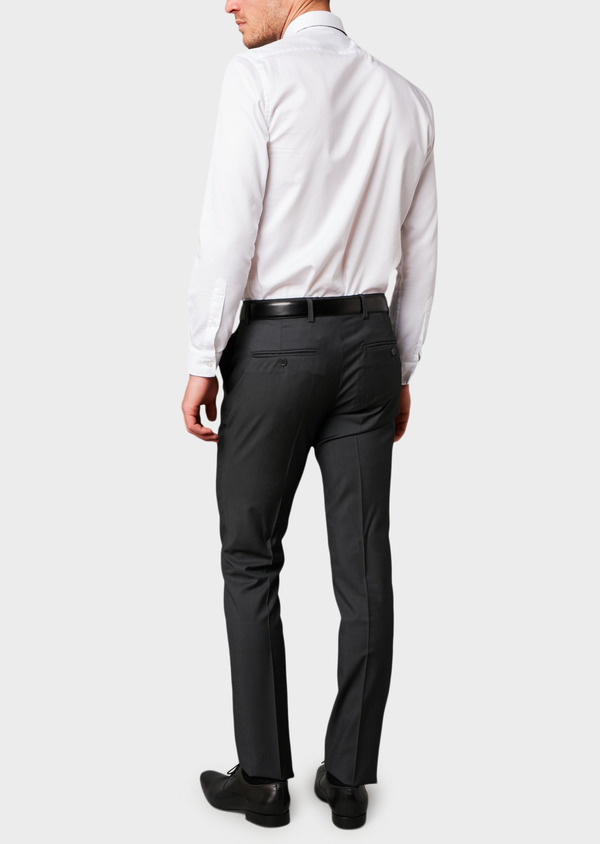 Pantalon de costume Regular en laine Vitale Barberis Canonico unie gris anthracite - Father and Sons 8812