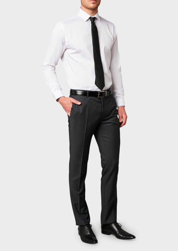 Pantalon de costume Regular en laine Vitale Barberis Canonico unie gris anthracite - Father and Sons 8811