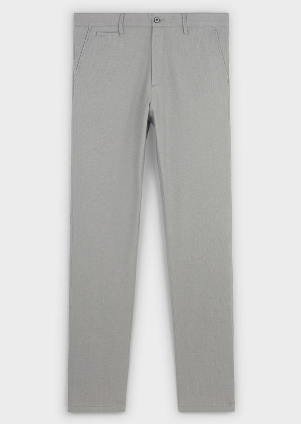 Chino slack skinny en coton stretch gris clair à motif - Father and Sons 8151
