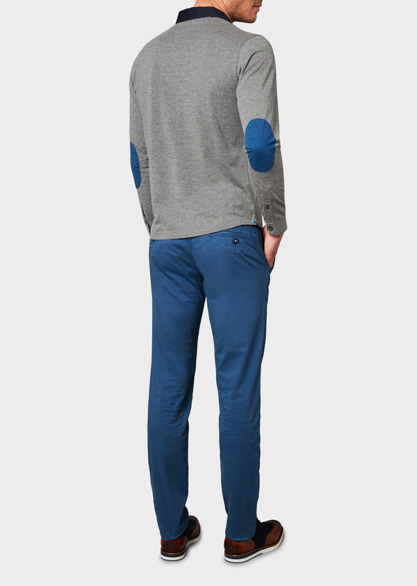 Chino slack skinny en coton stretch bleu à motif - Father and Sons 6679