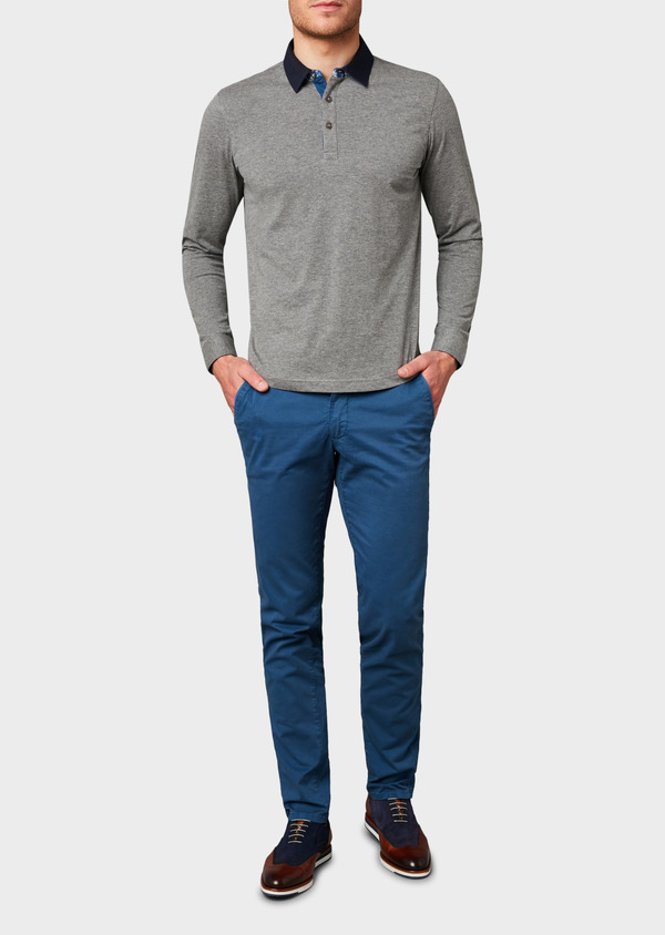 Chino slack skinny en coton stretch bleu à motif - Father and Sons 6678