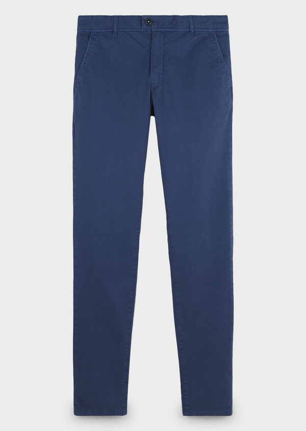 Chino slack skinny en coton stretch bleu à motif - Father and Sons 6676
